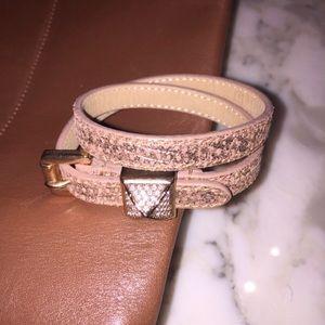 Michael Kors Rose Gold Pave Leather Wrap Bracelet